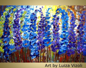 Flowers Oil Painting Modern Wall Decor Floral Fine Art BLUE GARDEN  36x24 Canvas by Luiza Vizoli