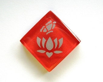 Lotus Flower Butterfly Magnet Silver Etched Red Glass MosaicTileThe Lotus-Butterfly Project