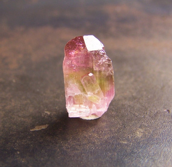 Tourmaline - Cluster - Green Pink Bi Color Tourmaline - Tourmaline Crystal  - Terminated cap - Bicolor - Bright colors