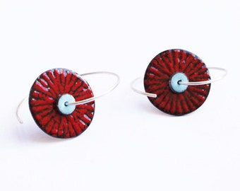 Red Black and Blu Enamel Copper and Silver Earrings