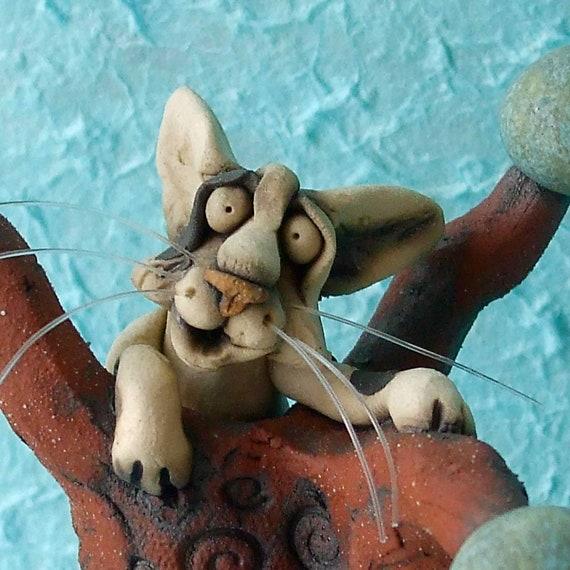 Cat on Vase Whimsical Ceramic Sculpture