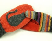 Cat Mittens from Felted Sweater Orange and Black Cat Applique Leather Palm Fleece Lining Eco Friendly  Up Cycled