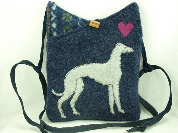 Wool Tote Bag Shoulder Bag Recycled Wool Purse Laptop Bag Dark Blue and Grey Whippet Applique Adjustable Leather Strap Upcycled Eco Friendly