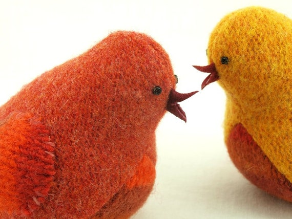 Wool Bird Ornament Eco Friendly Home Decor Bird in Harvest Colors Orange and Red Bird Felted Wool  Lamb Wool Stuffing