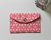 Holiday gift card holder - mini fabric wallet - Red and white snowflakes