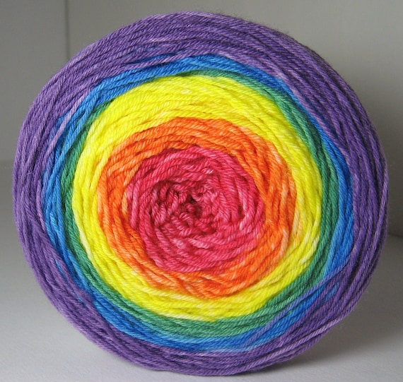 Reserved for LESLEY only sock Garden Party Cake - Hand Painted Tonal Yarn - Rainbow