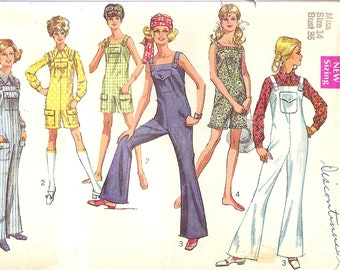 1960's Sewing Pattern - 60s Jumpsuit Pattern - Bell Bottom Overall Pattern - Simplicity 8172 - Uncut