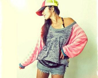 Burn Out Super Loose Pink Raglan Sports Tunic