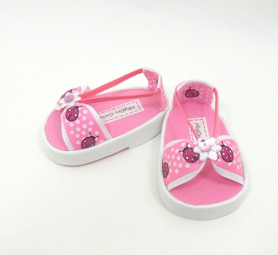 "18"" doll sandals for American Girl dolls pink ladybugs"