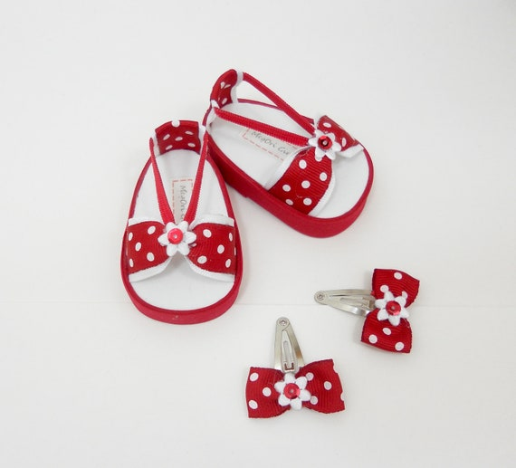 """18"""" doll sandals and hair clips red with white polka dots"""