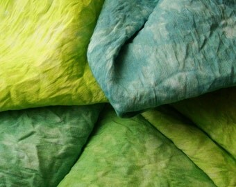"Green Blue Hand Dyed Silk Fabric Bundle, Silk Cloth Material for Quilting, Hand Embroidery, 14"" by 18"" Appalachian Trail"