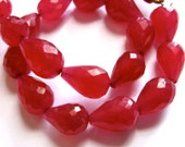 Ruby Pink Quartz 12MM X 8Mm Faceted Teardrop Briolettes - 9 Stones - 4 Inch Strand - Gemstone Beads - Reduced From 14.70