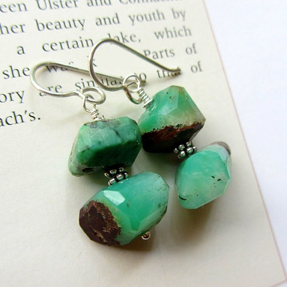 Chrysoprase Earrings, Handmade. Green, Brown Matrix. Morgan's Spell.