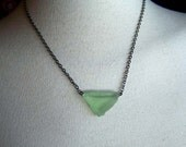 Green Sea Glass Necklace w Silver Chain