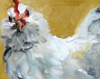 "Print from Original Impasto Oil Painting, ""La Gallina""  - White Chicken 8 x 8"