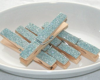 Shabby Chic Glittered Clothespins - Silver Blue Micro Glitter - Vintage Cottage Chic  Light Teal Baby Blue Home Decor Wedding Decoration