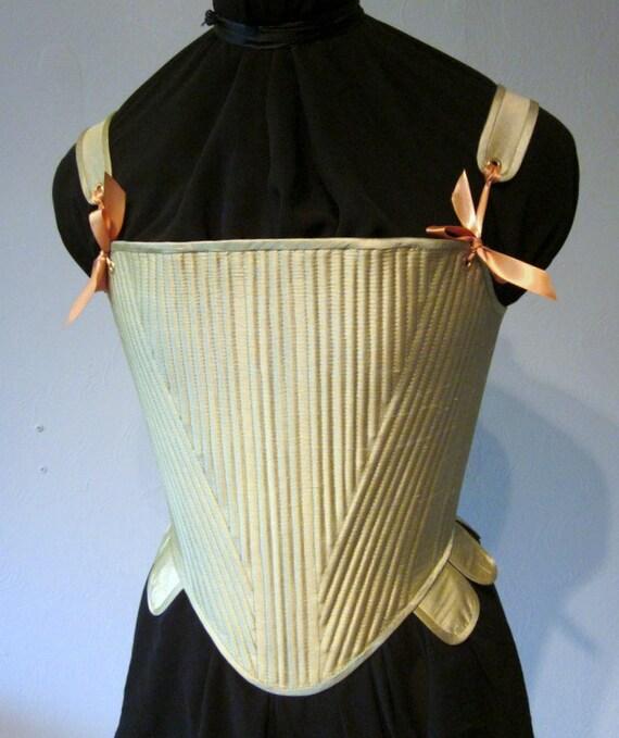 Elizabethan Corset Reed Boned Stays Lemongrass Green Silk