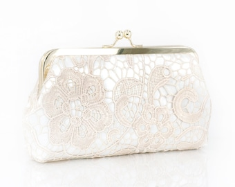 Bridal Champagne Lace Ivory Satin Clutch Gold Frame L'HERITAGE 8-inch