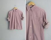 vintage '90s DUSTY ROSE CORDUROY button-up shirt. size s m.