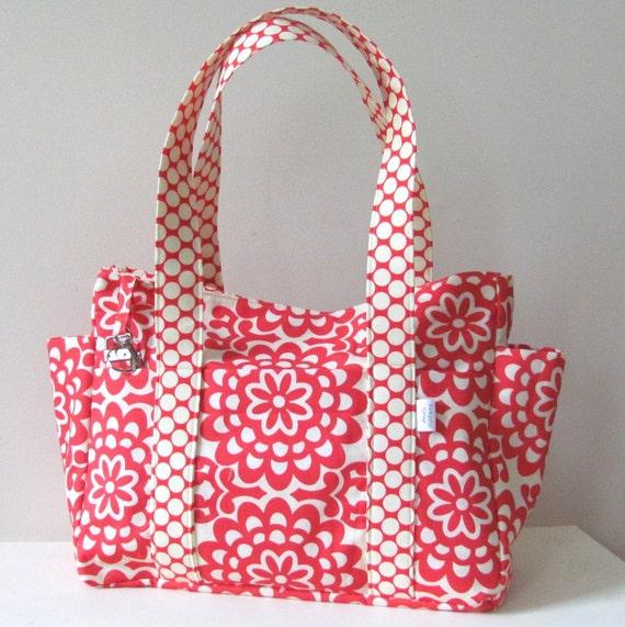 Diaper Bag Nappy Bag in Amy Butler's Lotus Wallflower in Cherry