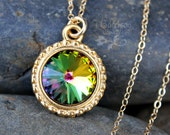 Northern Lights Swarovski rivoli crystal & gold necklace - color changing crystal, delicate 14k gold filled chain - free shipping USA