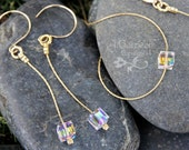 Cubist necklace and earrings set - sparkly clear Swarovski crystal cube on 14k gold filled chain and earwires - free shipping USA