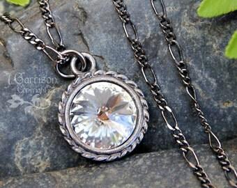 Midnight Star- Swarovski rivoli crystal & gunmetal black necklace - black and white - free shipping USA