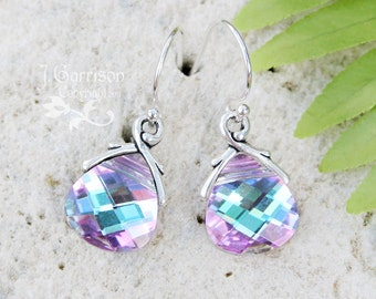 Vitrail Light Swarovski crystal briolette earrings, sterling silver hooks - pale ice blue, purple, pink color changing - free shipping USA