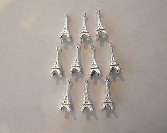 3d Eiffel Tower Charms- ten charms- bright silver charms