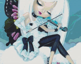 Cross Stitch Kit 'Winter Melody' By Simona Candini '  Winter Fairy Modern Counted CrossStitch Kit
