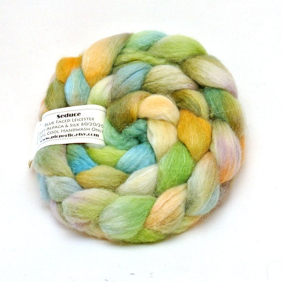 100g BFL Baby Alpaca and Silk luxury 3 times blended - Spring Colourway
