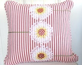 Three Sisters Summer Ticking Daisy 16 Inch Pillow Cover