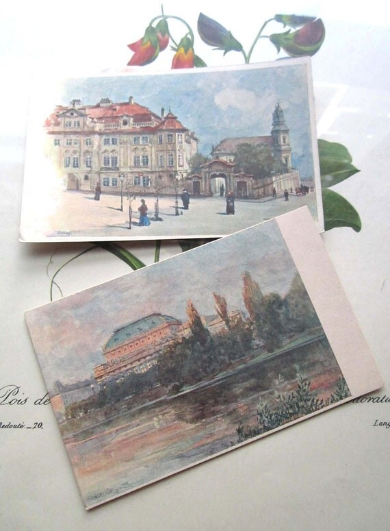 Two Vintage Postcards Prague street scenes