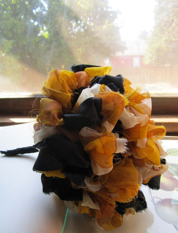 Vintage Fabric Pom Bouquet wedding bouquets, bridesmaids bouquets, toss keepsake bouquets