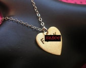 F .CK Necklace--Heart Charm Necklace, Heart Necklace, Metalwork Stamped Brass Heart, Valentines Day, Handmade, Mature,