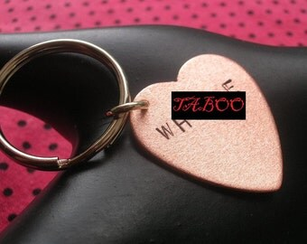 Whore, Femme, Vulgar Jewelry, Slut, Feminism, Copper Heart Keychain, Copper Keychain, Attention Whore, Sex, Metal, Mature, Metal Taboo