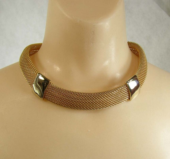 Vintage Gold Tone Mesh Necklace Rolled Coil Thick Wide Chain Tubular Gas Pipe