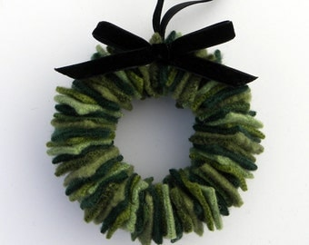 Rescued Wool Wreath Ornament - Dark Green with Black Velvet Ribbon - recycled wool wreath by alicia todd