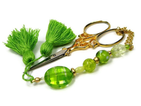 Beaded Scissor Fob, Quilting, Sewing, Cross Stitch, Gift for Crafter, Limeade, Lime Green, DIY Crafts, TJBdesigns, Direct Checkout