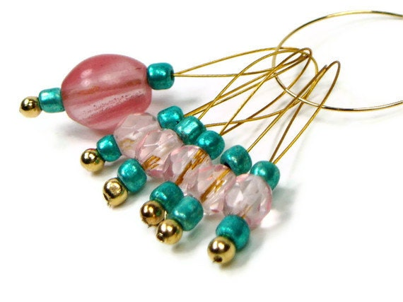 Beaded Stitch Markers Set, Knitting. Snag Free, Turquoise, Peach, Pink, Gift for Knitter, DIY Crafts, TJBdesigns