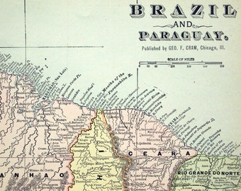 1901 Large Antique Map of Brazil and Paraguay