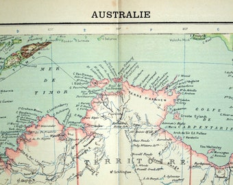 1907 Antique Map of Australia - Australia Antique Map - French map