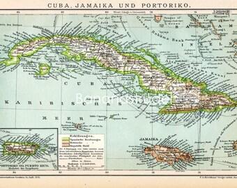 1894 Antique Map of Cuba, Jamaica, and Porto Rico - Cuba Jamaica Puerto Rico Antique Map - German map
