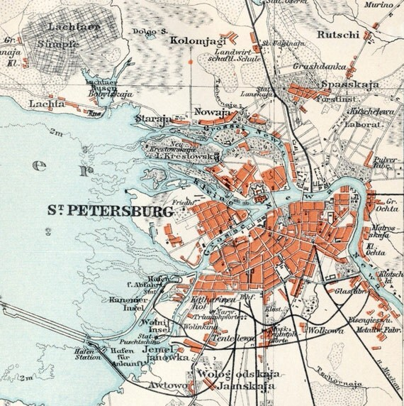 1895 German Vintage Map of the Environs of Saint Petersburg, Russia - Vintage City Map - Old City Map