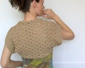 Light Brown, Beige Hand Knit Shrug - Extra Fine Merino Sweater Shrug -  SALE