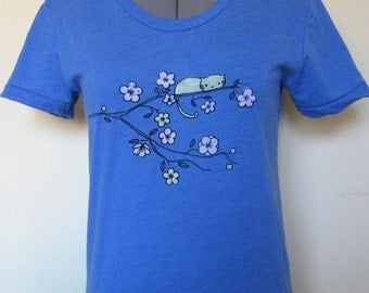 Cat T Shirt Women Blue Sizes Small through XLarge