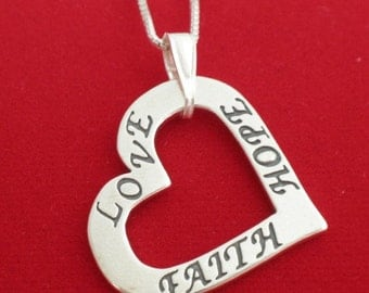Sterling Silver LOVE FAITH HOPE Heart Necklace 925