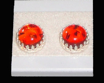 Baltic Amber Cabochons Sterling Silver Filigree Gallery Bezel Set Earrings