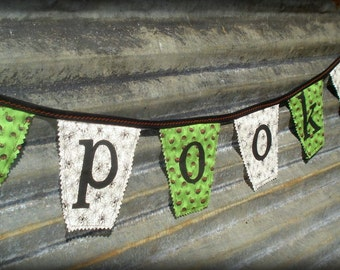 SPOOKY fabric Halloween banner bunting pennant