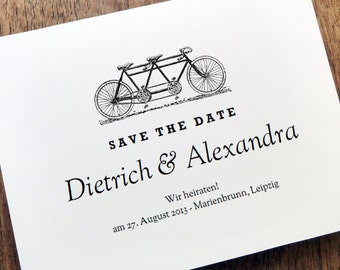 Printable Save the Date - Save the Date Card Template - Tandem Bicycle Save the Date - Tandem Bike Save the Date  - Vintage Tandem Bicycle